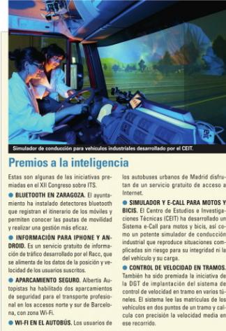 Tecnologías premiadas en el XII Congreso sobre ITS
