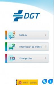 Pantalla de inicio de la App de la DGT.