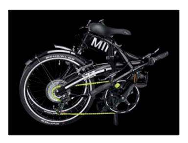 Posición de plegado de la bicicleta Mini.