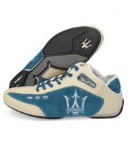 Zapatilla Maserati azul y beige