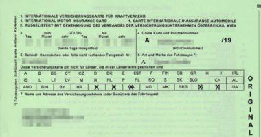 Carta verde - seguro de coche