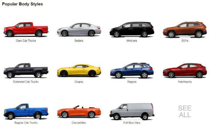 Amazon Vehicles - Popular Body Styles