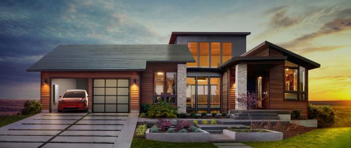 Vivienda con techo solar Tesla