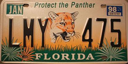 Matrícula Florida - Protect the panther