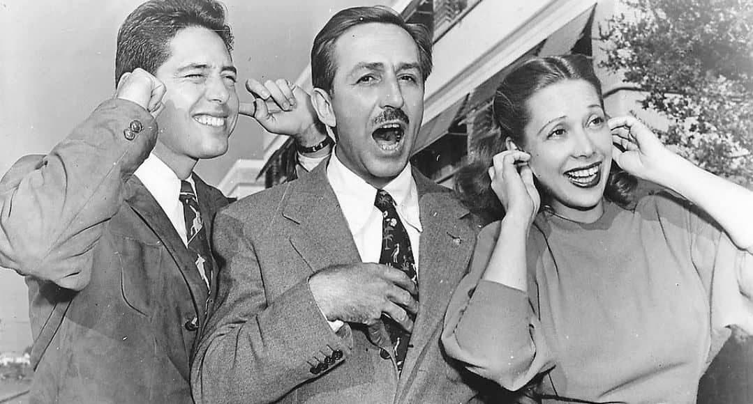 Walt Disney con Andy Russell y Dinah Shore