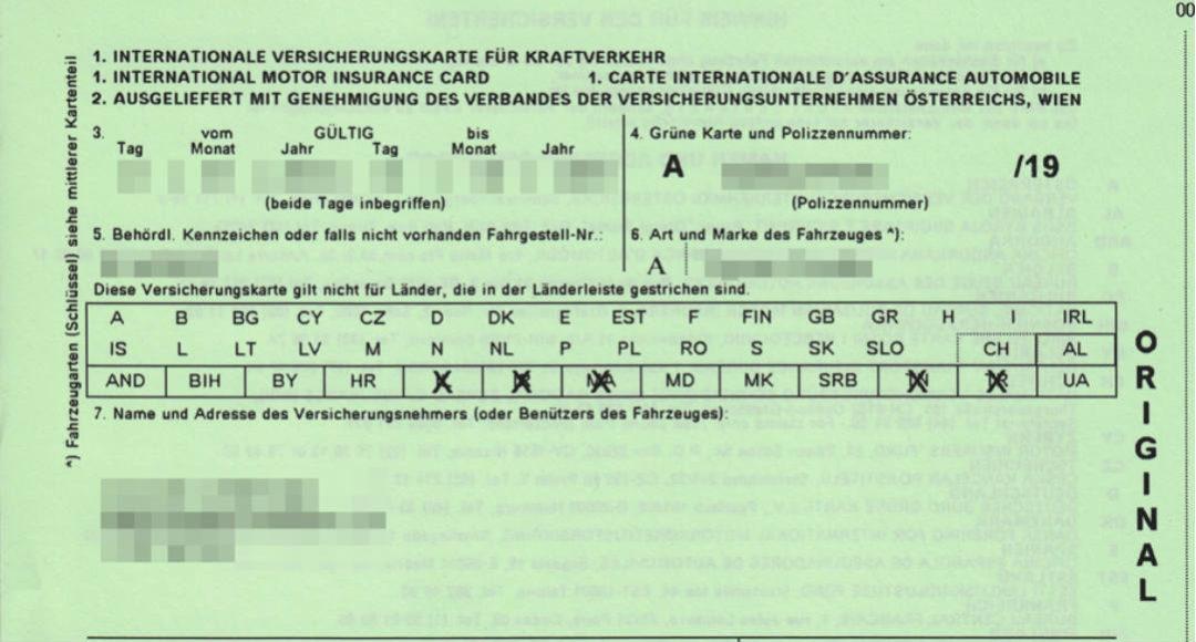 carta verde de seguro